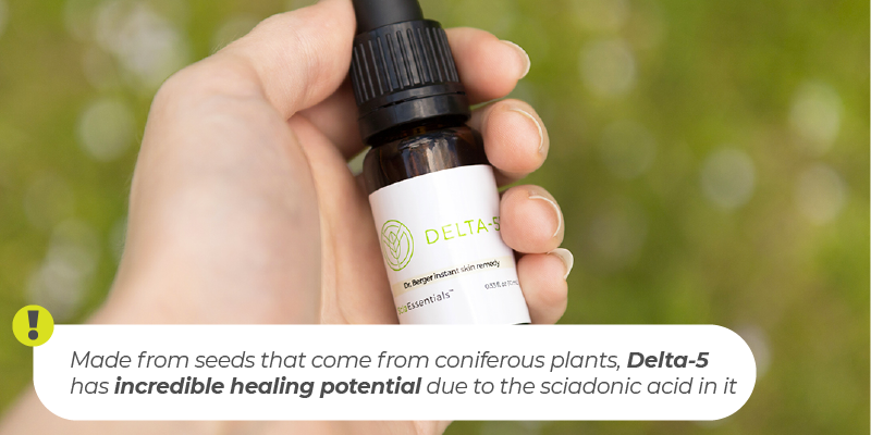 Delta-5 is Sciadonic's newest and best-selling product, developed by Dr. Alvin Berger. Made from seeds that come from coniferous plants, the oil has incredible healing potential due to the sciadonic acid in it