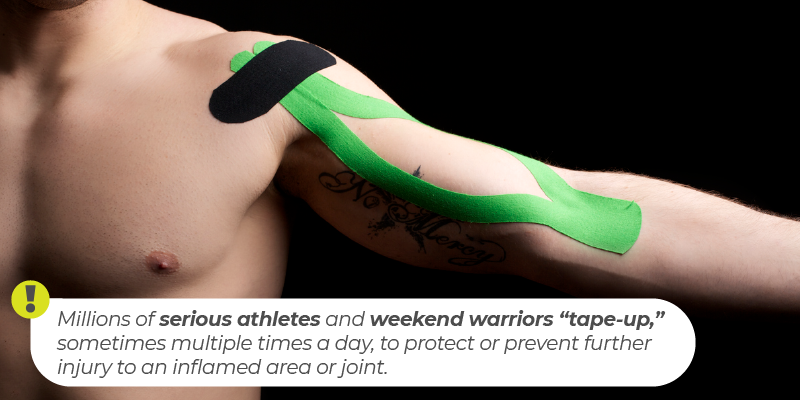 "Millions of serious athletes and weekend warriors ""tape-up,"" sometimes multiple times a day, to protect or prevent further injury to an inflamed area or joint"