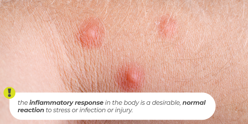the inflammatory response in the body is a desirable, normal reaction to stress or infection or injury.