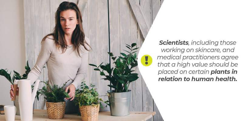 Scientists, including those working on skincare, and medical practitioners agree that a high value should be placed on certain plants in relation to human health.