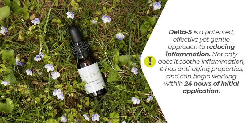 Delta-5 is a patented, effective yet gentle approach to reducing inflammation. Not only does it soothe inflammation, it has anti-aging properties, and can begin working within 24 hours of initial application.