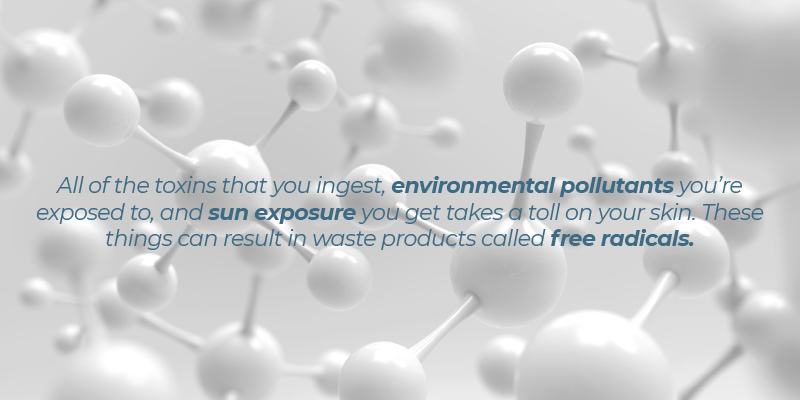 All of the toxins that you ingest, environmental pollutants you're exposed to, and sun exposure you get takes a toll on your skin. These things can result in waste products called free radicals.