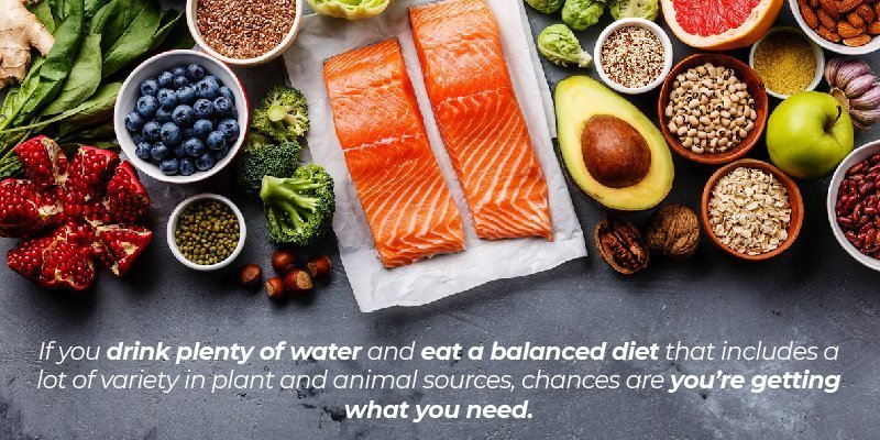 If you drink plenty of water and eat a balanced diet that includes a lot of variety in plant and animal sources, chances are you're getting what you need.